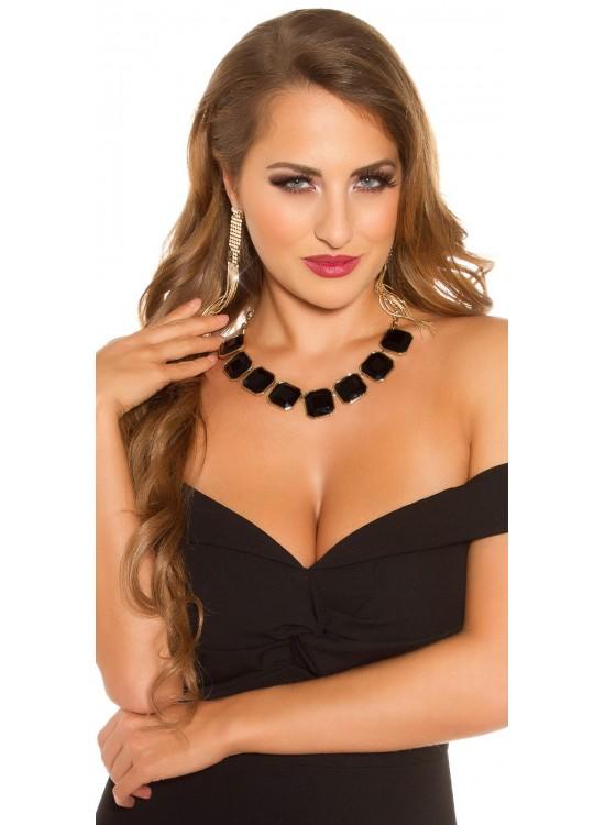 Elegantný náhrdelník s čiernymi kamienkami