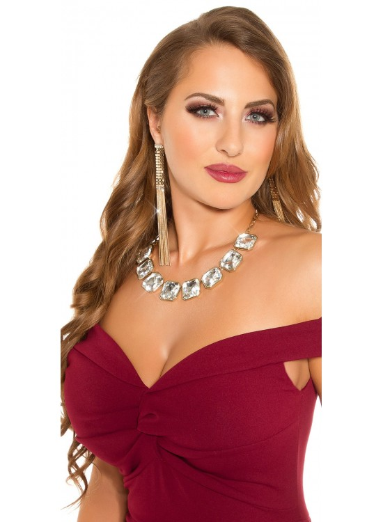 Elegantný náhrdelník so priesvitnými kamienkami