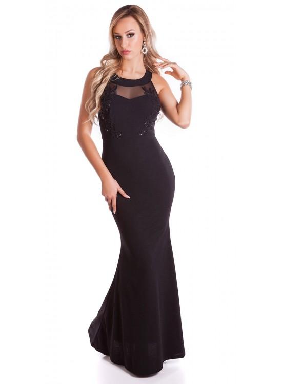 Dlhé čierne spoločenské šaty K9496
