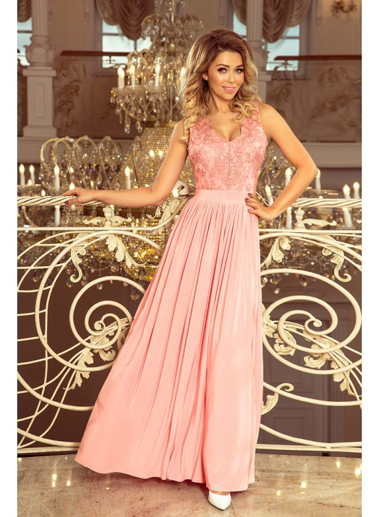 Dlhé pastelovo ružové večerné šaty 215-4