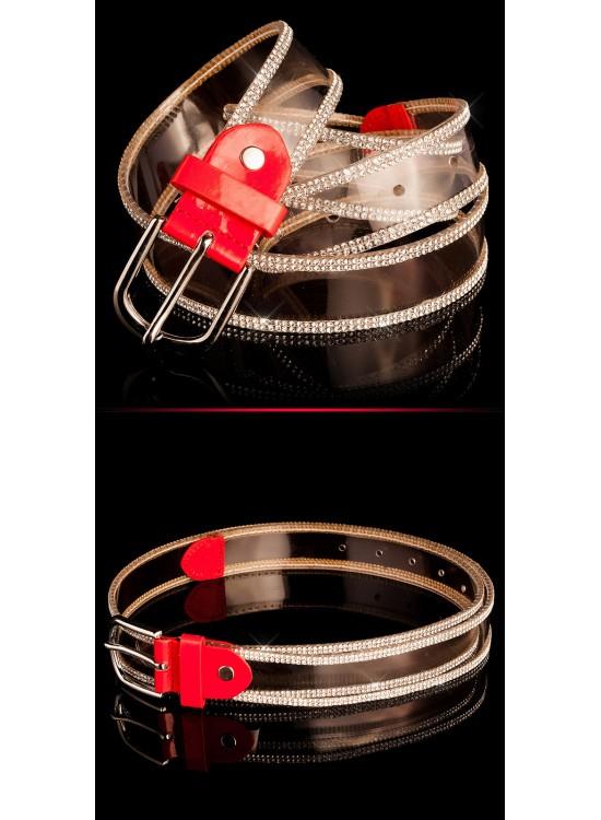 Priesvitný opasok so štrasovými kamienkami - červený