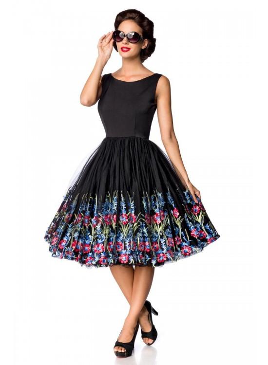 Retro šaty so širokou sukňou vyšívanou kvetmi