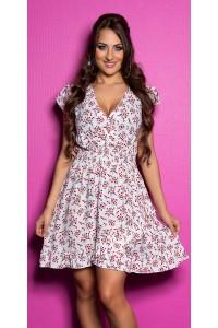 Letné biele kvetované šaty