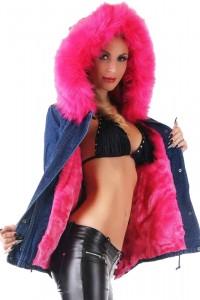 Zimná parka bunda s ružovou...