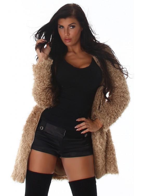 Svetlohnedý plyšový kabát