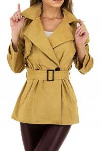 Horčicovožltý kabát s opaskom