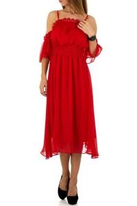 Červené šifónové šaty po...