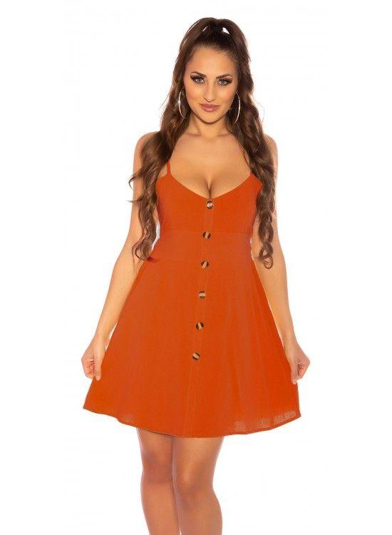 Oranžové letné bavlnené šaty s gombíkmi