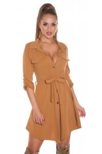 Hnedé košeľové šaty s opaskom