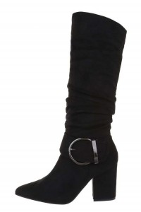 Čierne špicaté čižmy na hrubom opätku -1